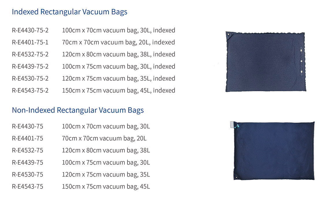 indexed rectangular vacuum bags
